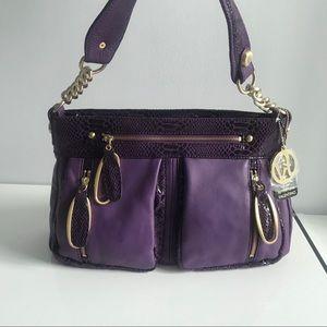 Valentino Fortuna Purple Leather Croc Satchel Bag